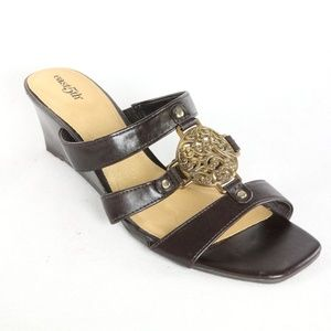EAST 5TH Gold Medallion Brown Wedge Sandals